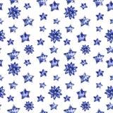 Blå sömlös modell för blommor och för stjärnor, vattenfärgillustration vektor illustrationer