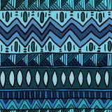 Blå sömlös modell för person som tillhör en etnisk minoritet Tryck för Boho abstrakt begrepptextil Arkivfoto