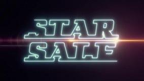 Blå SALE för laser-neonSTJÄRNAN text kommer ut med skinande ljus optisk signalljusanimering på svart bakgrund - nytt kvalitets- r arkivfilmer