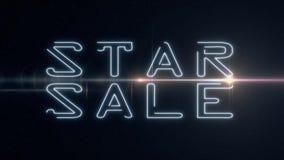 Blå SALE för laser-neonSTJÄRNAN text kommer ut med skinande ljus optisk signalljusanimering på svart bakgrund - nytt kvalitets- r stock video