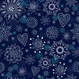 Blå seamless bakgrund med snowflakes Fotografering för Bildbyråer