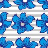 blå seamless blommamodell Arkivbild