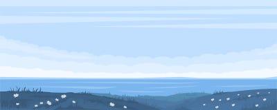 Blå seascape för monokrom royaltyfri illustrationer