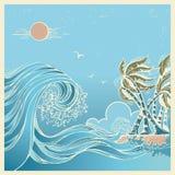Blå seascape för stora vågor vektor illustrationer
