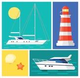 blå seglinghavsyacht Fyr Marintime semester royaltyfri illustrationer