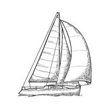 blå seglinghavsyacht Segelbåt Vektor dragen plan illustration för yachtklubba vektor illustrationer
