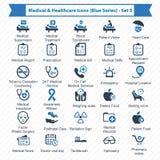 Blå serie för läkarundersökning- & sjukvårdsymboler - uppsättning 3 Arkivbilder