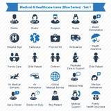 Blå serie för läkarundersökning- & sjukvårdsymboler - uppsättning 1 Royaltyfria Bilder
