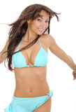 blå sexig baddräktkvinna Arkivfoto