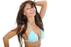 blå sexig baddräktkvinna Fotografering för Bildbyråer