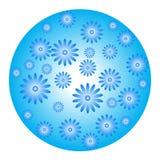 Blå sfär med blommor vektor illustrationer