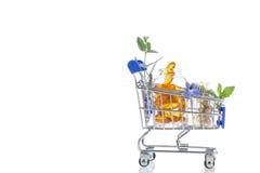 Blå shoppingspårvagn med preventivpillerar och medicin Fotografering för Bildbyråer
