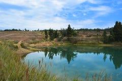 Blå sjö i en öken i Boyaca Colombia Arkivbild