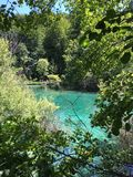 Blå sjö i Plitvice Royaltyfri Fotografi