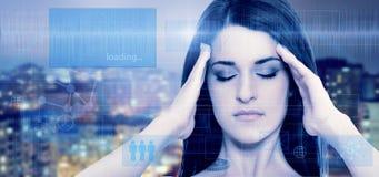 Blå skärm för ung kvinna Fotografering för Bildbyråer