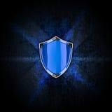 Blå sköld på den mörka bakgrunden royaltyfri illustrationer