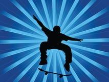 blå skateboradåkare Arkivfoto