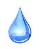 Blå skinande vattendroppe royaltyfri illustrationer