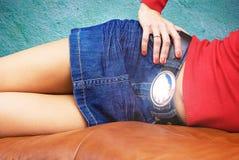 blå skirt royaltyfria foton