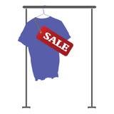 Blå skjorta på försäljningsvektor Royaltyfria Bilder