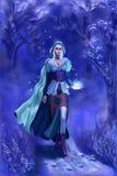 blå skognymph royaltyfri illustrationer