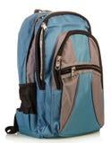 Blå skolaryggsäck Arkivbild