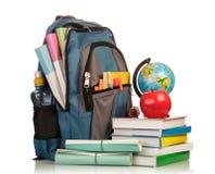 Blå skolaryggsäck Royaltyfria Foton