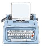 Blå skrivmaskin med pappers- gulligt l Arkivfoto