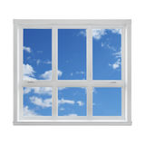 Blå sky som ses till och med fönstret Royaltyfri Fotografi