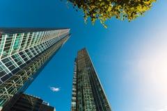 Blå skyskrapafasad berlin byggnadskontor modern glass silhouett Royaltyfria Bilder