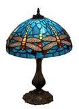 blå sländaexponeringsglaslampshade Arkivfoton