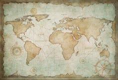 Blå sliten tappningvärldskartaillustration arkivbild