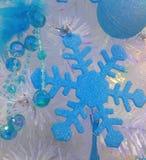 Blå snöflinga för garnering Fotografering för Bildbyråer