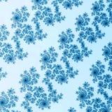 Blå snöflingafractal på vit bakgrund Royaltyfri Foto