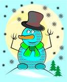 Blå snögubbe med hatten och halsduken Arkivfoto