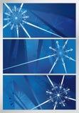 Blå snöig modell, tre bakgrunder Royaltyfri Bild