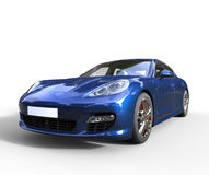 Blå snabb bil Front View Arkivbild