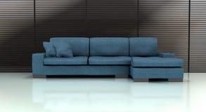 blå sofa Royaltyfria Bilder