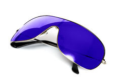 blå solglasögon Fotografering för Bildbyråer