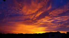 blå solnedgång Fotografering för Bildbyråer