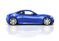 Blå sportbil 3D för lyx Arkivbild