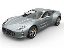 Blå sportbil för silver - closeupskott Royaltyfri Bild