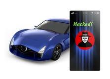 Blå sportbil med en smart telefon Det finns en hackersymbolsvisningen i telefonen royaltyfri illustrationer