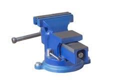 Blå stålskruvstäd Fotografering för Bildbyråer
