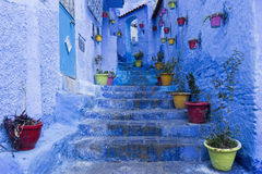 Blå stad av Chefchaouen i Marocko Royaltyfri Foto