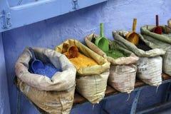 Blå stad av Chefchaouen i Marocko Arkivfoto