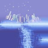 Blå stadsbakgrund med stjärnor Arkivbilder