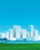 blå stadspanorama Royaltyfria Bilder