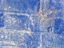 Blå station för drev för tegelstenvägg Royaltyfri Fotografi