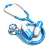 Blå stetoskop med två stora blåa preventivpillerar Arkivbilder